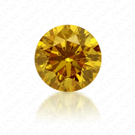 0.68 Carat Round Brilliant Natural Fancy Vivid Orangy Yellow Diamond