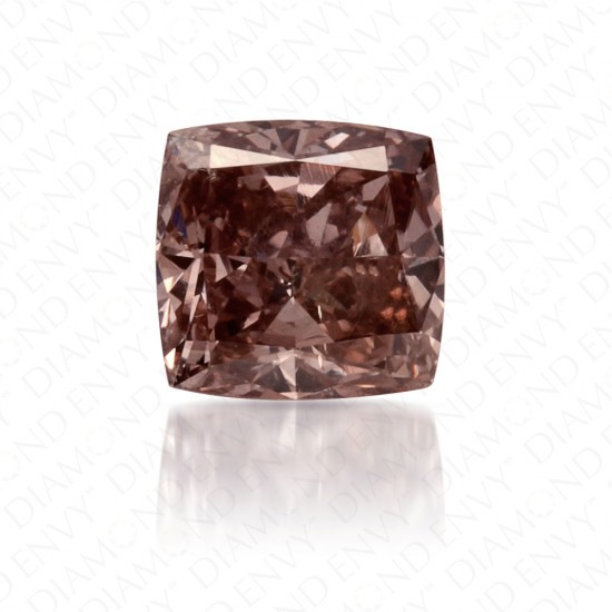 0.50 Carat Princess Cut Fancy Dark Pink Brown Diamond