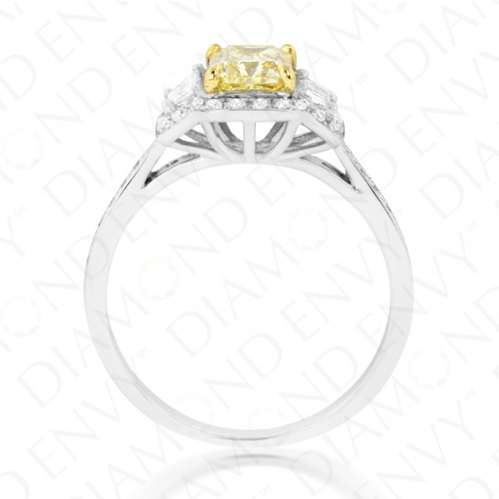 1.45 Carat Fancy Intense Yellow Diamond Ring in 18K Two-Tone Gold