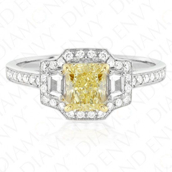 1.44 Carat Fancy Yellow Diamond Ring in 18K Two-Tone Gold