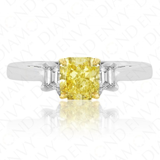 1.41 Carat Fancy Intense Yellow Diamond Ring in 18K Two-Tone Gold