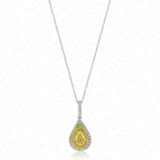 1.47 Carat Fancy Vivid Yellow Diamond Pendant in 18K Two-Tone Gold