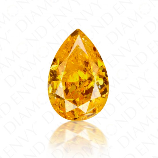 0.50 Carat Pear Shape Natural Fancy Vivid Yellowish Orange Diamond