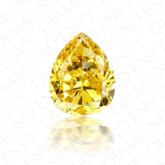 0.43 Carat Pear Shape Fancy Vivid Yellow Diamond