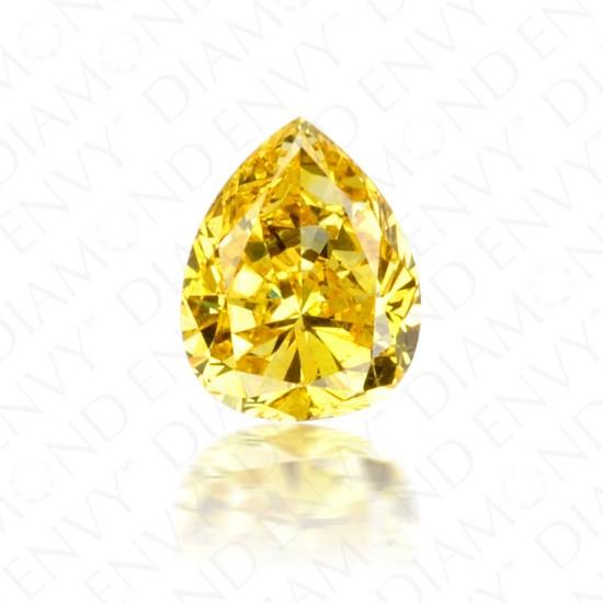 0.43 Carat Pear Shape Fancy Vivid Yellow Diamond