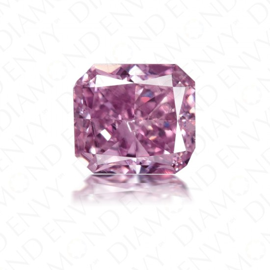 0.79 Carat Radiant Cut Natural Fancy Intense Pink-Purple Diamond