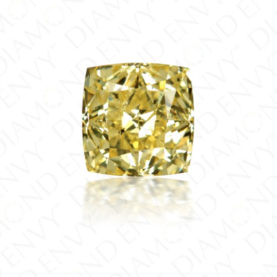 2.22 Carat Cushion Cut Natural Fancy Intense Yellow Diamond