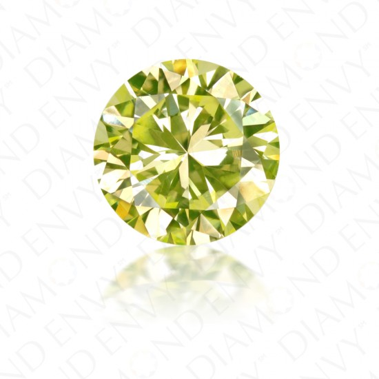0.75 Carat Round Brilliant Cut Natural Fancy Intense Green-Yellow Diamond