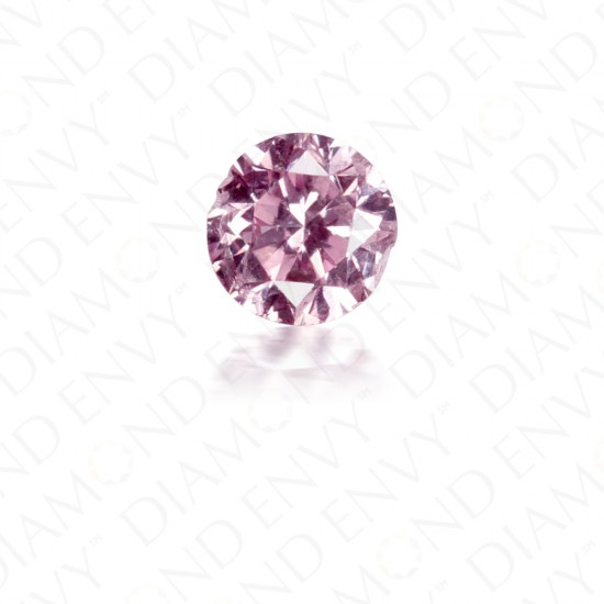 0.15 Carat Round Brilliant Natural Fancy Intense Purplish Pink Diamond