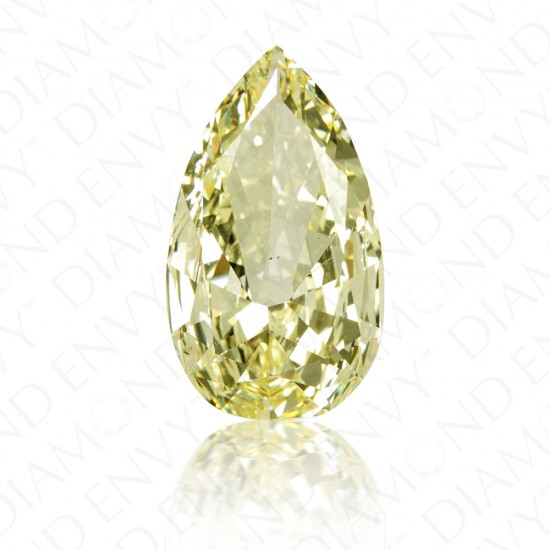 14.21 Carat Pear Shape Natural Fancy Light Yellow Diamond