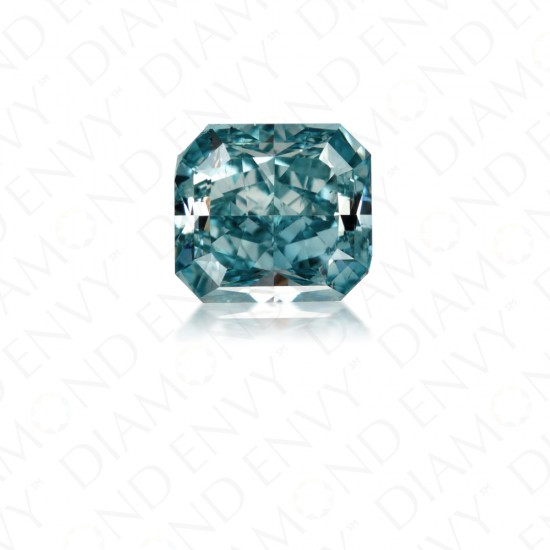 1.59 Carat Radiant Cut Natural Fancy Vivid Green-Blue Diamond