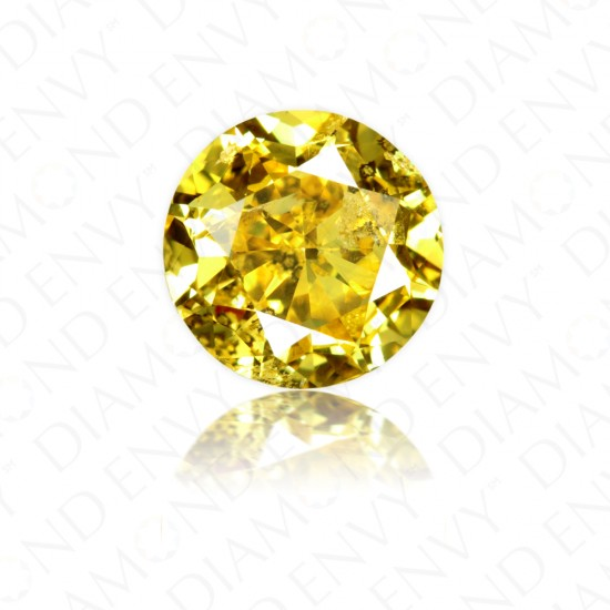 2.03 Carat Round Brilliant Natural Fancy Vivid Yellow Diamond