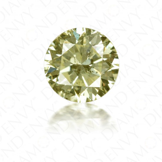 0.90 Carat Round Brilliant Fancy Green-Yellow Diamond