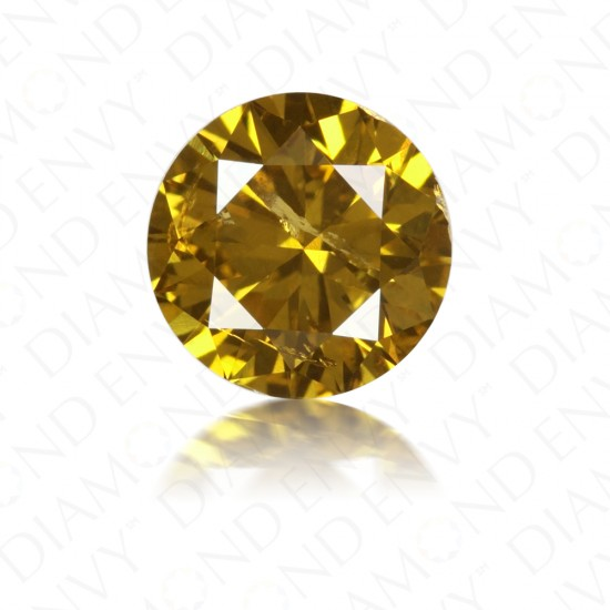 1.01 Carat Round Brilliant Fancy Deep Brownish Yellow Diamond