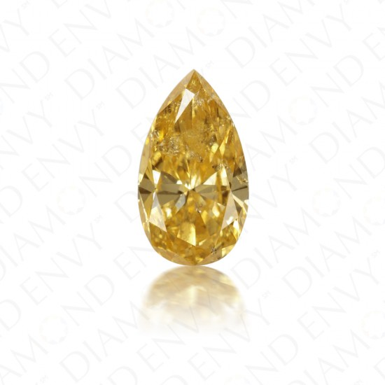 1.00 Carat Pear Shape Natural Fancy Intense Orange-Yellow Diamond