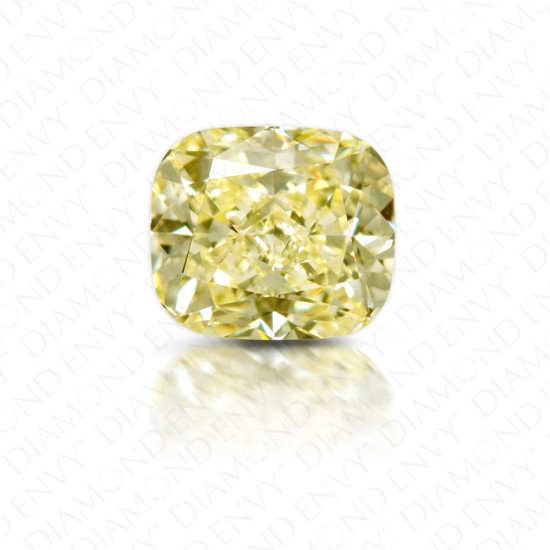2.01 Carat Cushion Cut Natural Fancy Light Yellow Diamond