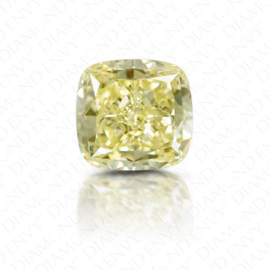 2.09 Carat Cushion Cut Natural Fancy Light Yellow Diamond