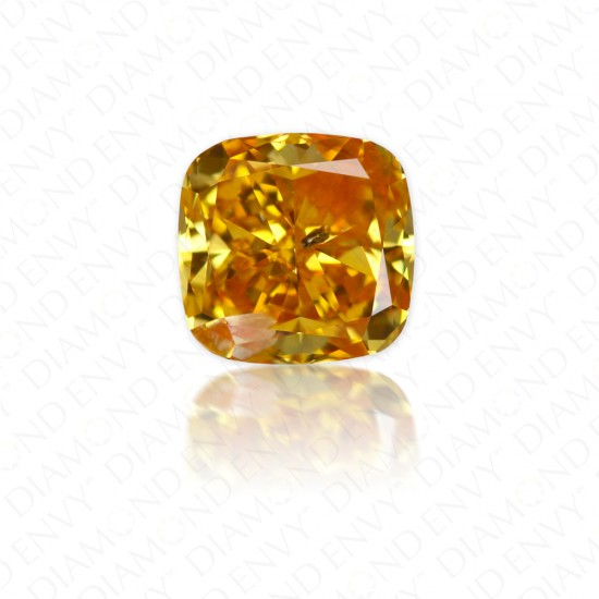 0.75 Carat Cushion Cut Natural Fancy Deep Orangy Yellow Diamond