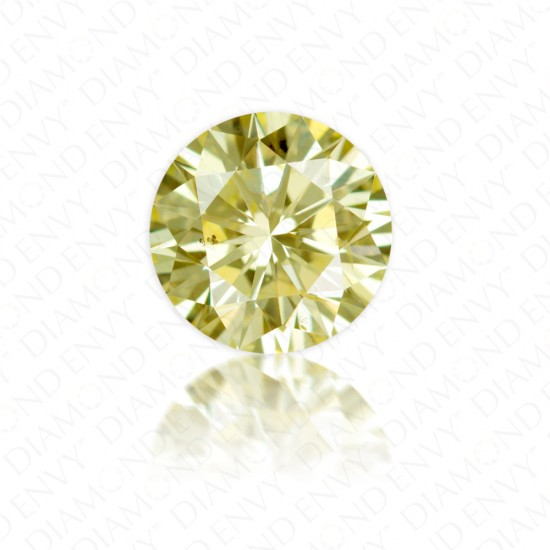 "0.76 Carat Round Brilliant ""W to X Range"" Yellow Diamond"