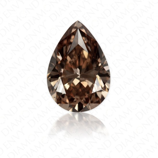 0.91 Carat Pear Shape Natural Fancy Dark Orange-Brown Diamond