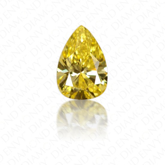 0.34 Carat VS1 Pear Shape Natural Fancy Vivid Yellow Diamond