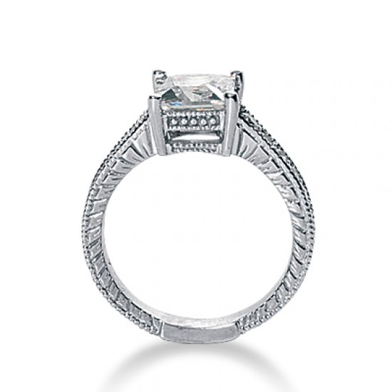 Vintage style engagement ring with pave set diamond band and milgrain detailing.