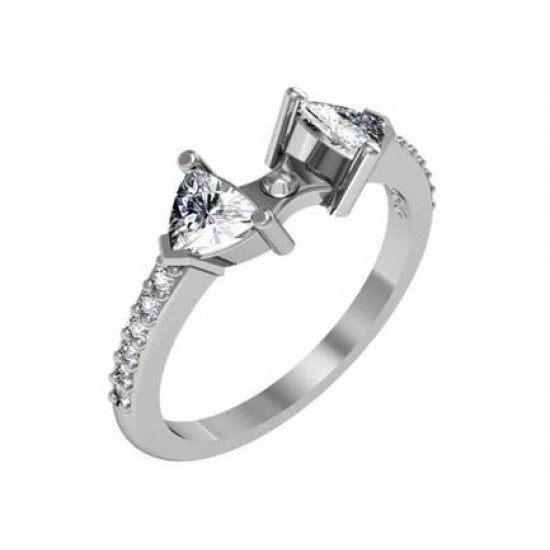 Contemporary style engagement ring with side stones and diamond accented band