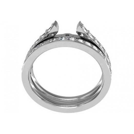 Contemporary Style Engagement Ring with Prong Set Diamonds in Channel Style Raised Band
