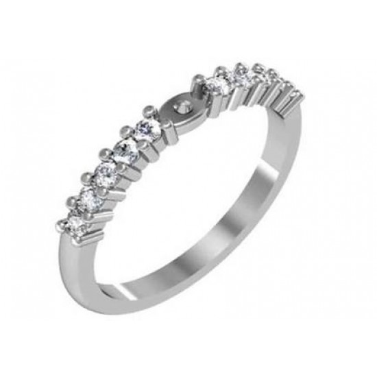 Classic style engagement ring with shared prong set diamond band