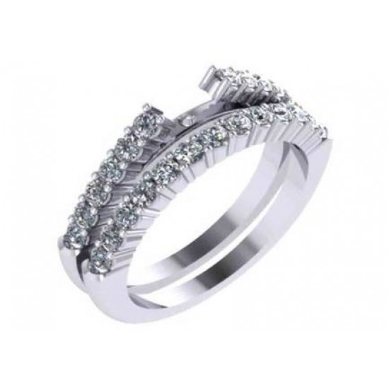 Classic Style Engagement Ring with Shared Prong Raised Diamond Band