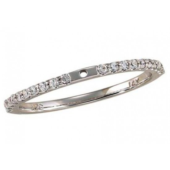 Classic style engagement ring with pave set diamond band