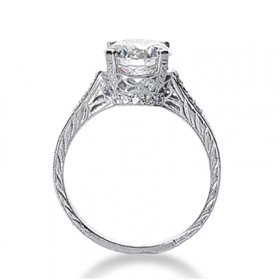 Vintage Style Engagement Ring with Pave Set Diamond Accented Band and Milgrain Detailing