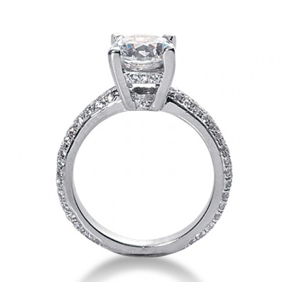 Contemporary Style Engagement Ring with Pave Set Diamond Encrusted Band