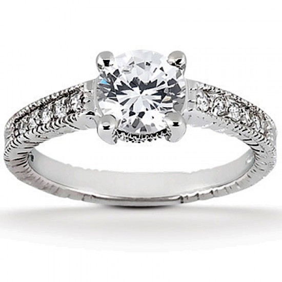 Vintage Style Engagement Ring with Pave Set Diamond Band and Milgrain Detailing