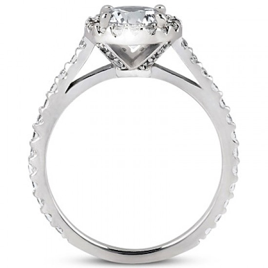 Classic Style Engagement Ring with Pave Set Diamond Eternity Band and Halo