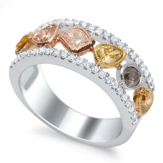 1.04 Carat Fancy Mult-Colored Diamond Ring in 18K Two-Tone Gold