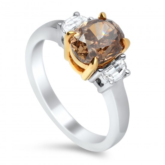2.06 Carat Fancy Dark Orangey Brown VS2 Oval Diamond Ring in 18K Two-Tone Gold