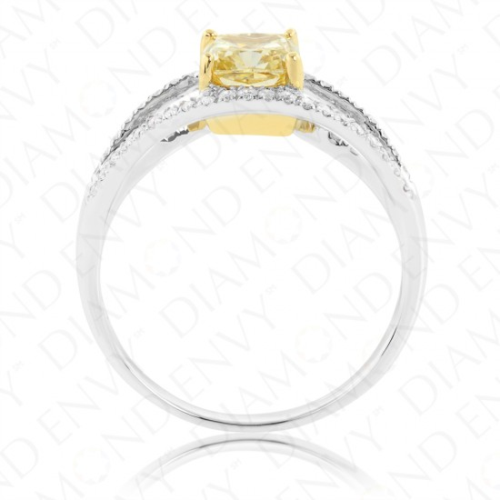 1.30 Carat Fancy Light Yellow Diamond Ring in 18K Two-Tone Gold