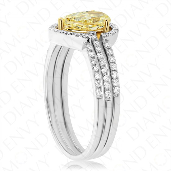 1.17 Carat Fancy Yellow Diamond Ring in 18K Two-Tone Gold
