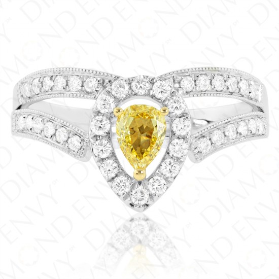 Tiara Yellow Diamond Ring with Split Shank