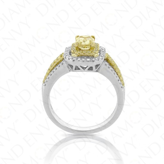0.89ct Fancy Yellow Diamond Ring in 18K Two-Tone Gold