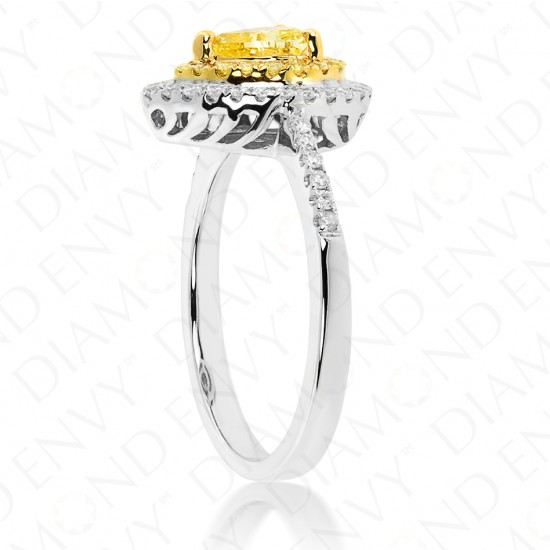 Fancy Intense Yellow Diamond Ring in 18K Two-Tone Gold