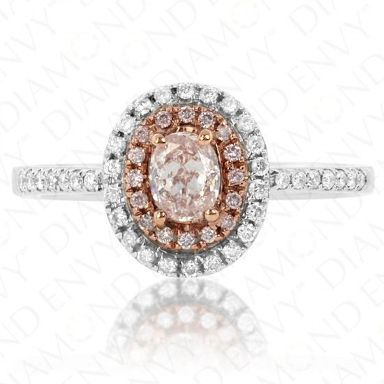 0.60 Carat Fancy Light Pink Diamond Ring in 18K Two-Tone Gold