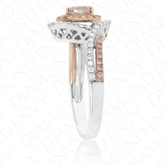 0.64 Carat Fancy Brownish Pink Diamond Ring in 18K Two-Tone Gold