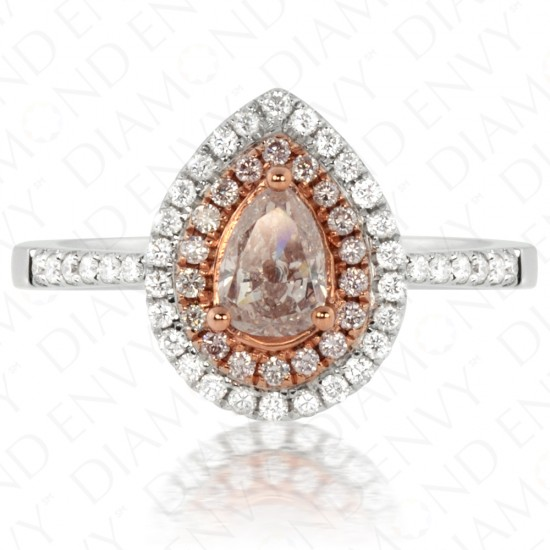 0.80 Carat Fancy Light Brownish Pink Diamond Ring in 18K Two-Tone Gold
