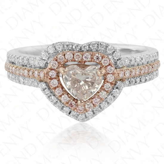 0.93 Carat Fancy Brownish Pink Diamond Ring in 18K Two-Tone Gold
