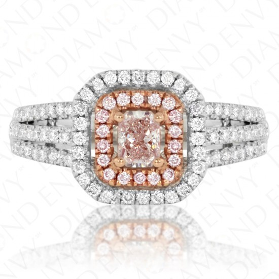 0.84 Carat Light Pinkish Brown Diamond Ring in 18K Two-Tone Gold