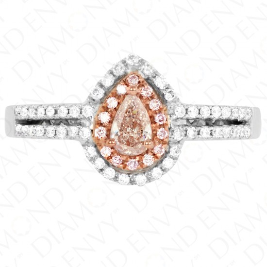 0.50 Carat Fancy Brown Pink Diamond Ring in 18K Two-Tone Gold