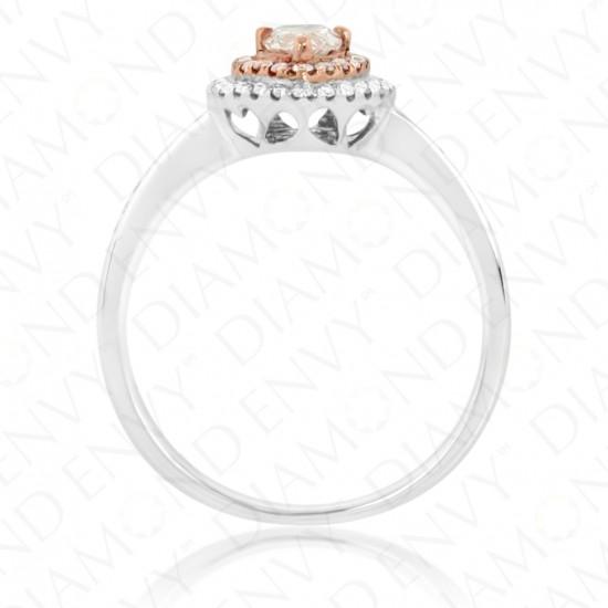 0.64 Carat Fancy Light Pinkish Brown Diamond Ring in 18K Two-Tone Gold