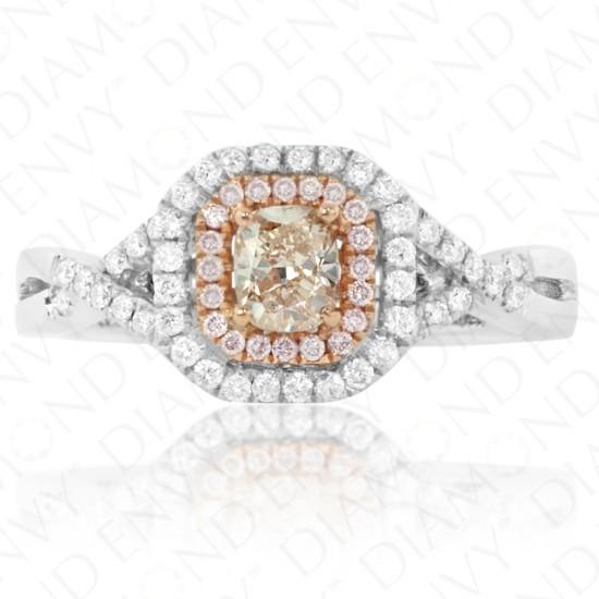 0.74 Carat Fancy Light Pinkish Brown Diamond Ring in 18K Two-Tone Gold